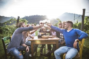 Friends at a table in a vineyard raise their glasses in celebration